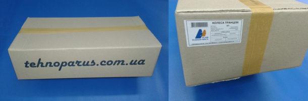 Упаковка для ТРАНЦЕВЫХ колес ТЕХНОПАРУС маркируется самоклеящейся цветной этикеткой